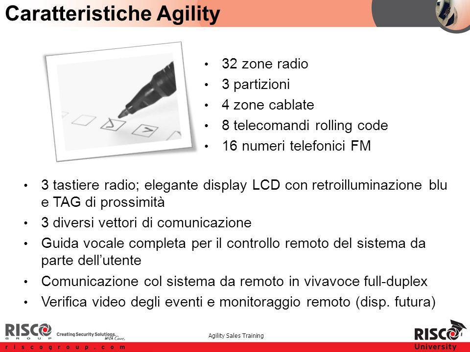 Agility Sales Training Caratteristiche Agility 32 zone radio 3 partizioni 4 zone cablate 8 telecomandi rolling code 16 numeri telefonici FM 3 tastiere