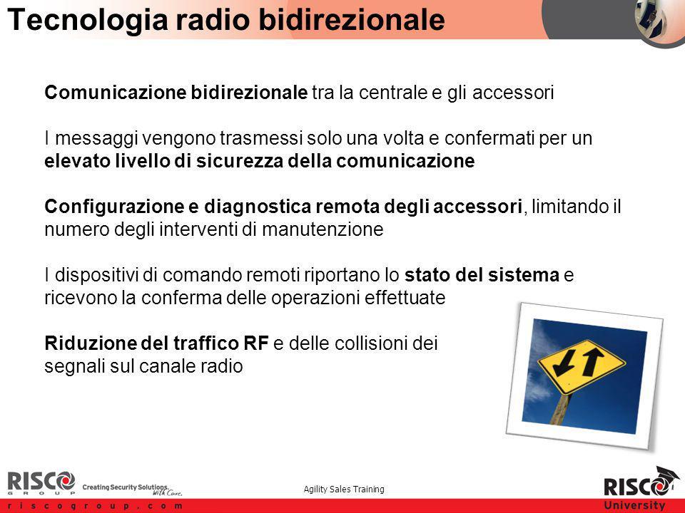Agility Sales Training Tecnologia radio bidirezionale Comunicazione bidirezionale tra la centrale e gli accessori I messaggi vengono trasmessi solo un