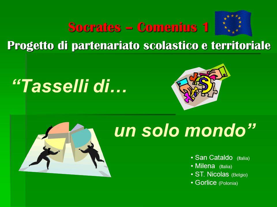 """""""Tasselli di… un solo mondo"""" Socrates – Comenius 1 Progetto di partenariato scolastico e territoriale San Cataldo (Italia) Milena (Italia) ST. Nicolas"""
