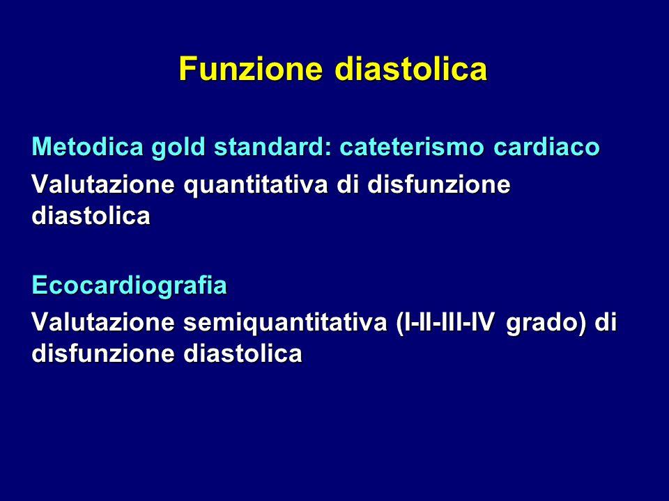 Funzione diastolica Metodica gold standard: cateterismo cardiaco Valutazione quantitativa di disfunzione diastolica Ecocardiografia Valutazione semiqu