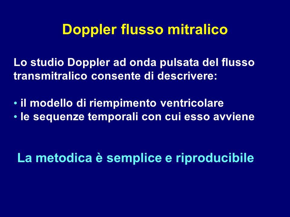 Lo studio Doppler ad onda pulsata del flusso transmitralico consente di descrivere: il modello di riempimento ventricolare le sequenze temporali con c