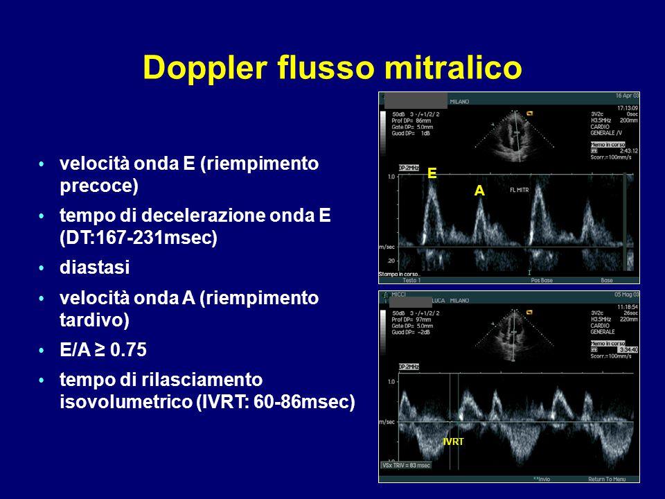 velocità onda E (riempimento precoce) tempo di decelerazione onda E (DT:167-231msec) diastasi velocità onda A (riempimento tardivo) E/A ≥ 0.75 tempo d
