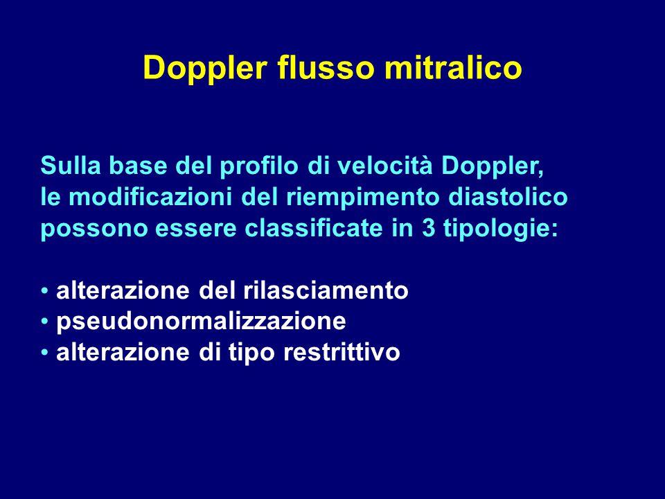 Sulla base del profilo di velocità Doppler, le modificazioni del riempimento diastolico possono essere classificate in 3 tipologie: alterazione del ri