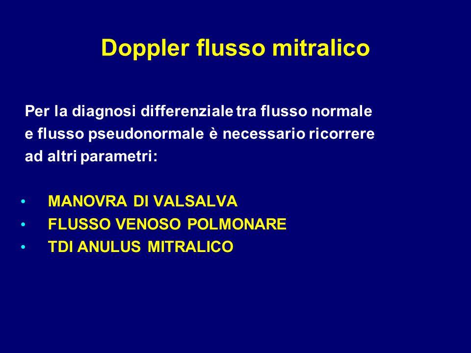 Per la diagnosi differenziale tra flusso normale e flusso pseudonormale è necessario ricorrere ad altri parametri: MANOVRA DI VALSALVA FLUSSO VENOSO P