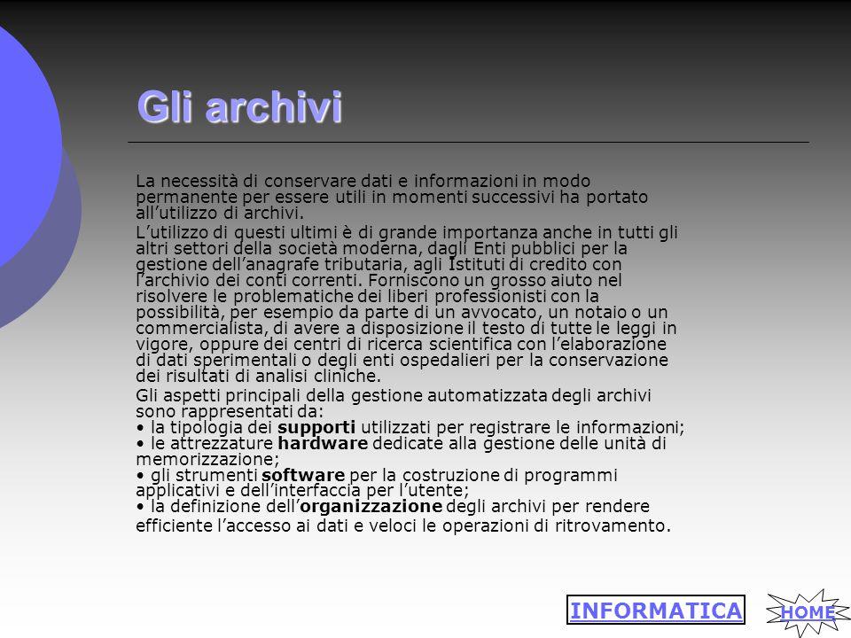 Gli archivi La necessità di conservare dati e informazioni in modo permanente per essere utili in momenti successivi ha portato all'utilizzo di archivi.