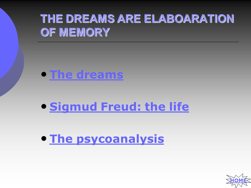 THE DREAMS ARE ELABOARATION OF MEMORY The dreams Sigmud Freud: the life The psycoanalysis HOME
