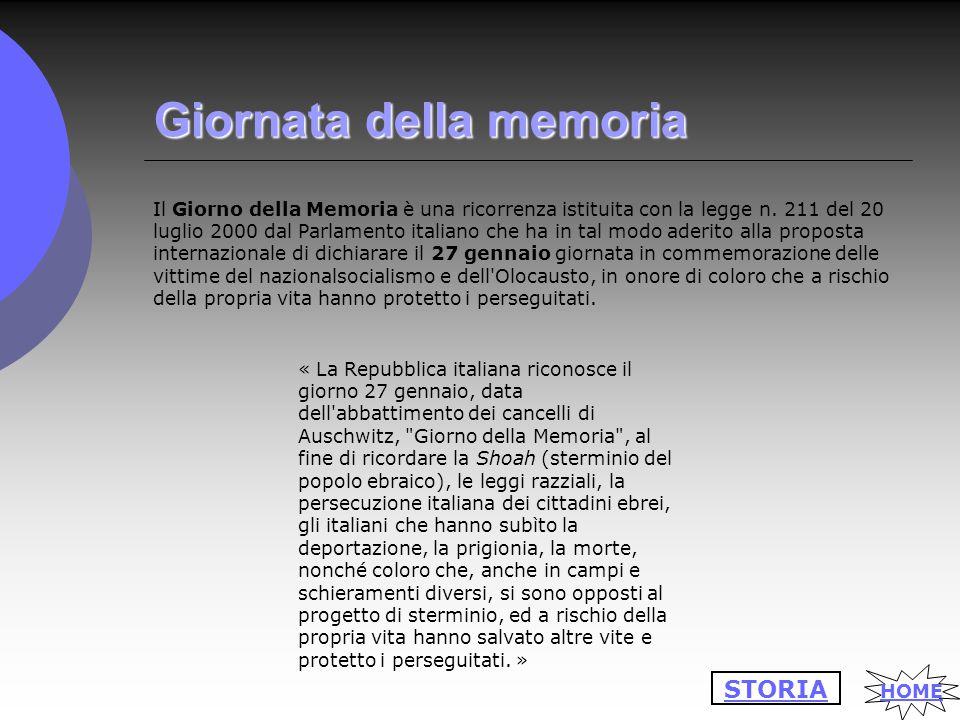 Giornata della memoria Il Giorno della Memoria è una ricorrenza istituita con la legge n.