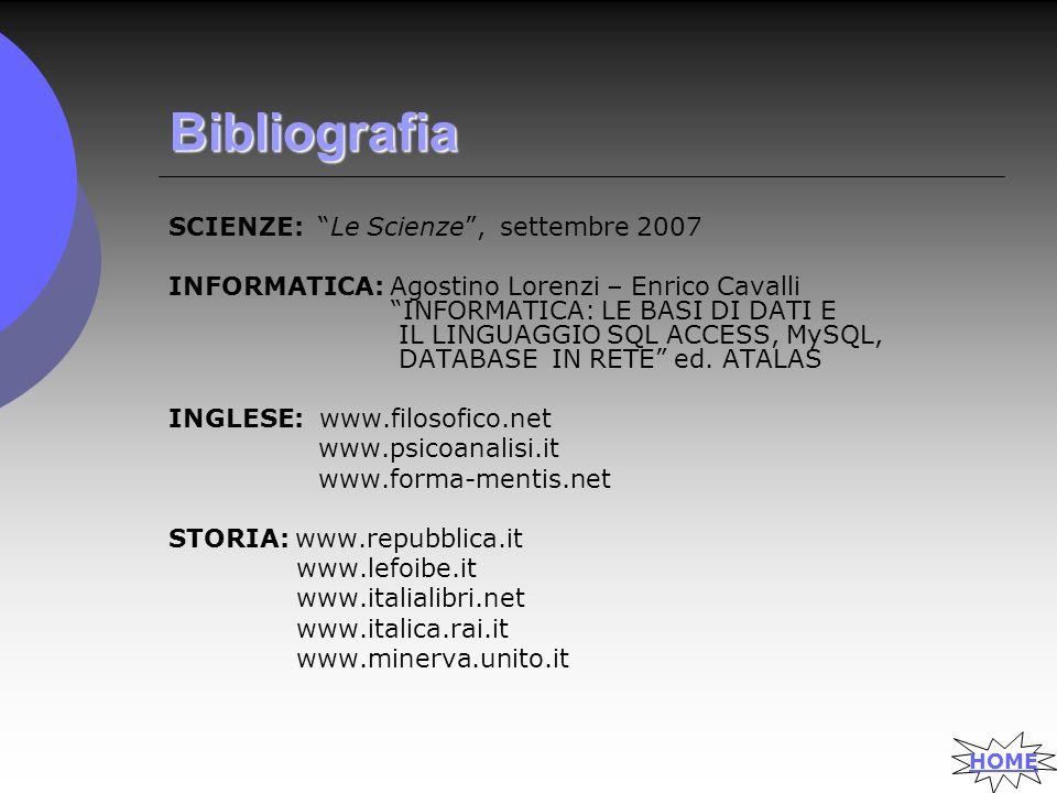 Bibliografia SCIENZE: Le Scienze , settembre 2007 INFORMATICA: Agostino Lorenzi – Enrico Cavalli INFORMATICA: LE BASI DI DATI E IL LINGUAGGIO SQL ACCESS, MySQL, DATABASE IN RETE ed.