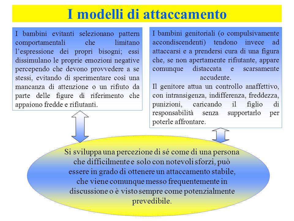 I modelli di attaccamento I bambini genitoriali (o compulsivamente accondiscendenti) tendono invece ad attaccarsi e a prendersi cura di una figura che