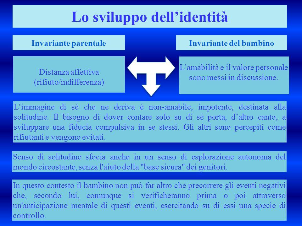 Distanza affettiva (rifiuto/indifferenza) Lo sviluppo dell'identità Invariante parentaleInvariante del bambino L'amabilità e il valore personale sono