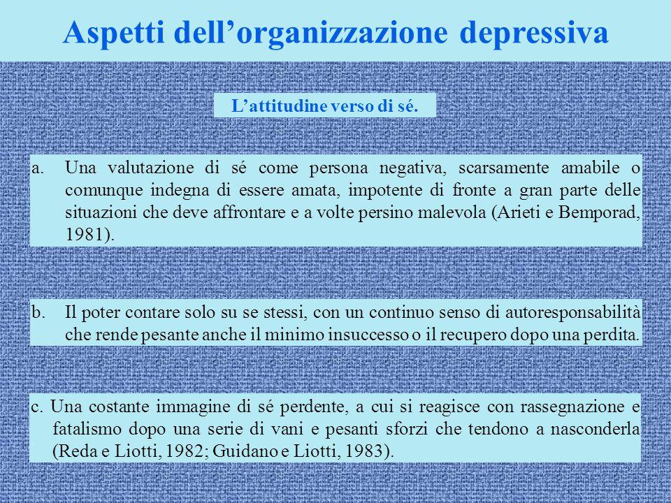 Aspetti dell'organizzazione depressiva a.Una valutazione di sé come persona negativa, scarsamente amabile o comunque indegna di essere amata, impotent