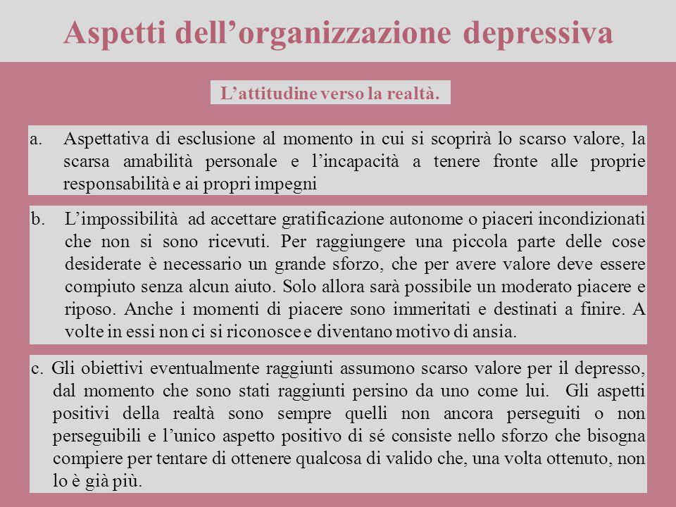 Aspetti dell'organizzazione depressiva a.Aspettativa di esclusione al momento in cui si scoprirà lo scarso valore, la scarsa amabilità personale e l'i