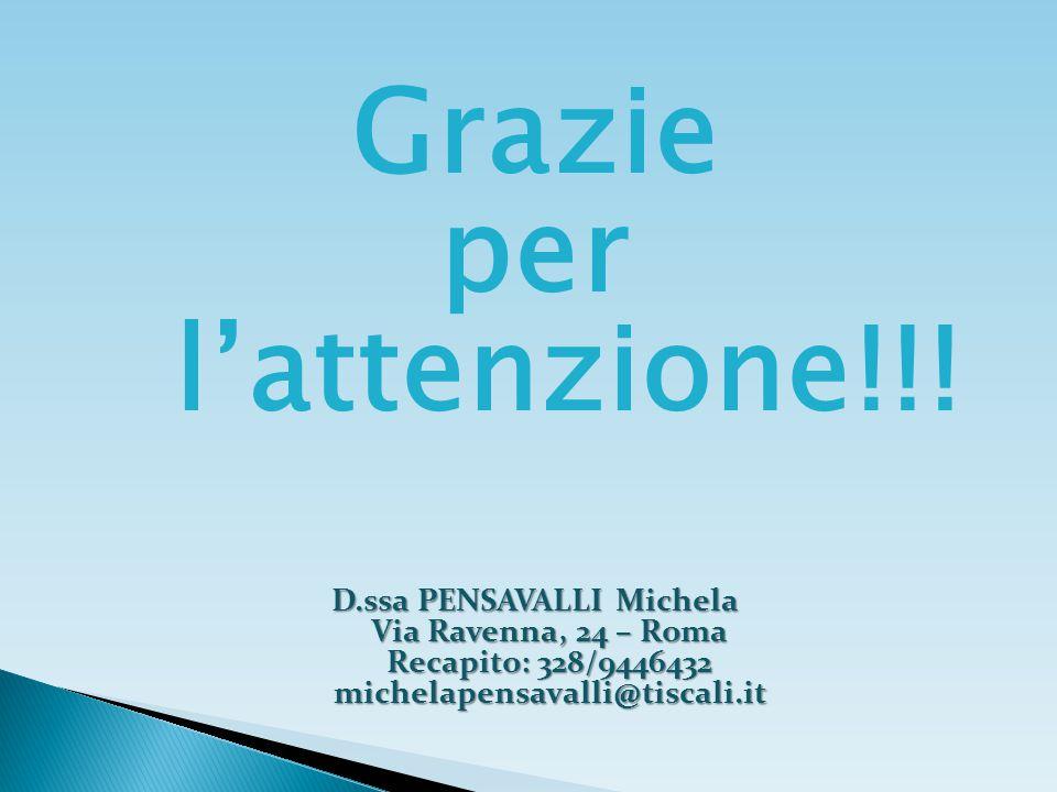 Grazie per l'attenzione!!! D.ssa PENSAVALLI Michela Via Ravenna, 24 – Roma Recapito: 328/9446432 michelapensavalli@tiscali.it