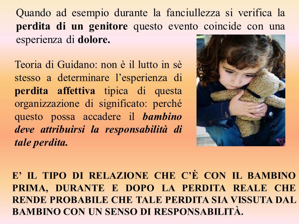 Quando ad esempio durante la fanciullezza si verifica la perdita di un genitore questo evento coincide con una esperienza di dolore. Teoria di Guidano