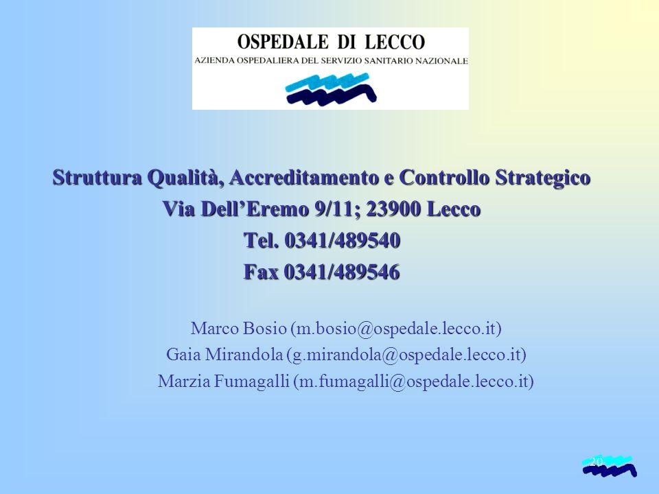 20 Struttura Qualità, Accreditamento e Controllo Strategico Via Dell'Eremo 9/11; 23900 Lecco Tel. 0341/489540 Fax 0341/489546 Marco Bosio (m.bosio@osp