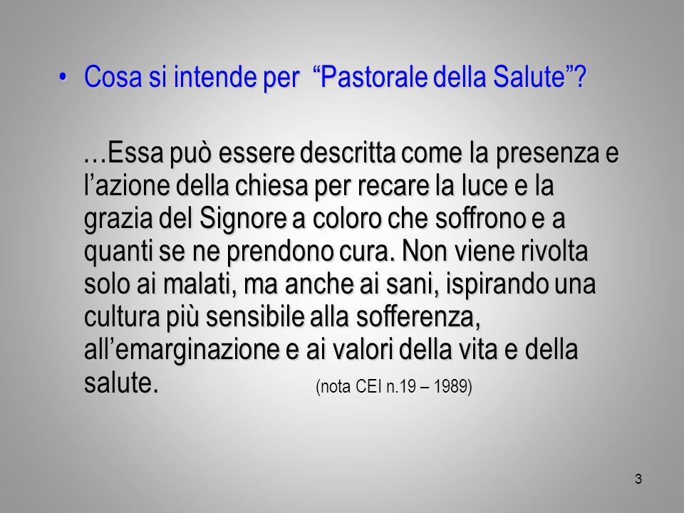 """Cosa si intende per """"Pastorale della Salute""""?Cosa si intende per """"Pastorale della Salute""""? …Essa può essere descritta come la presenza e l'azione dell"""