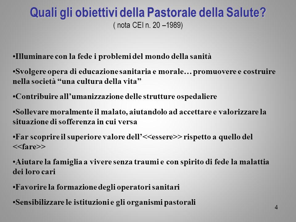 Quali gli obiettivi della Pastorale della Salute? ( nota CEI n. 20 –1989) Quali gli obiettivi della Pastorale della Salute? ( nota CEI n. 20 –1989) Il