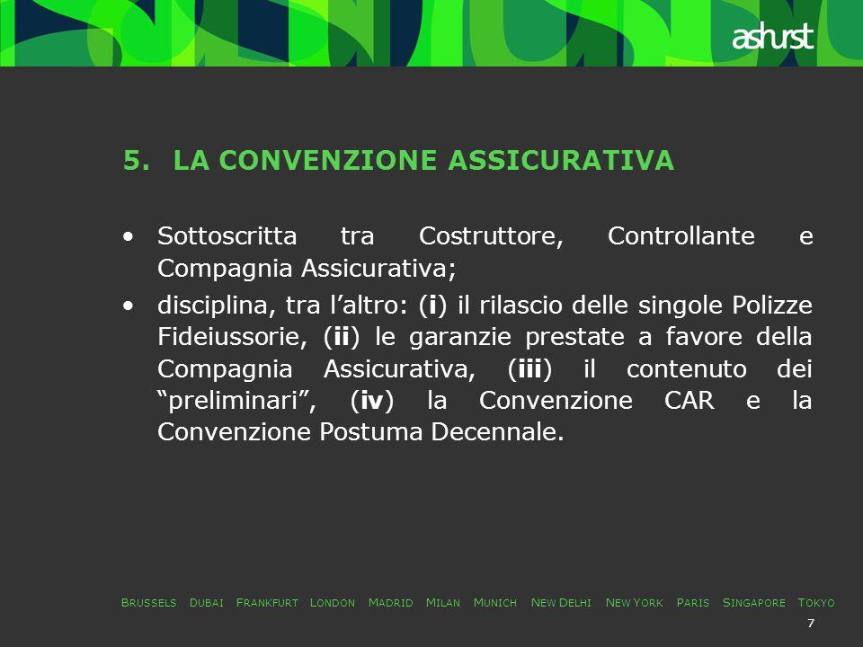 B RUSSELS D UBAI F RANKFURT L ONDON M ADRID M ILAN M UNICH N EW D ELHI N EW Y ORK P ARIS S INGAPORE T OKYO 18 9.L'ACCORDO TRA CREDITORI - BANCA – COMPAGNIA ASSICURATIVA (COSTRUTTORE – CONTROLLANTE) Definisce il credito della Compagnia Assicurativa: senior subordinated and secured on a subordinated basis; precisa le modalità di escussione delle garanzie a supporto dei crediti senior; fissa le azioni esperibili nei confronti del Costruttore in caso di inadempimento e/o insolvenza; determina i criteri di riparto delle somme ricavate da ogni iniziativa giudiziale / stragiudiziale.