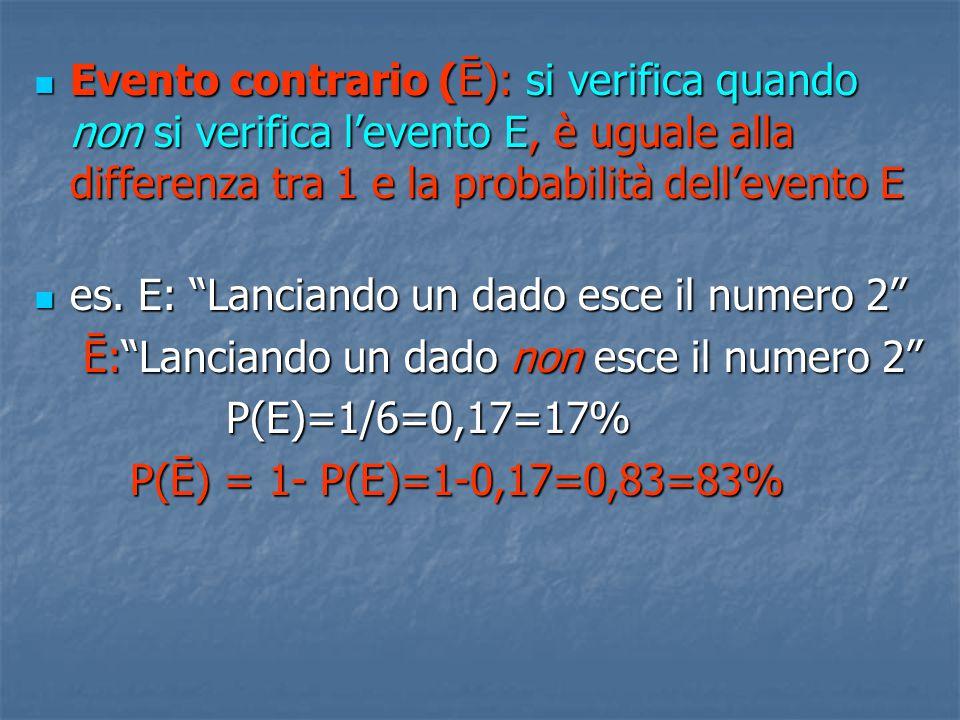 EVENTO TOTALE: più eventi parziali che si verificano nella stessa prova Probabilità totale: probabilità che si verifichi almeno uno degli eventi parziali ( o → +) Probabilità totale: probabilità che si verifichi almeno uno degli eventi parziali ( o → +) 1.Eventi incompatibili: il verificarsi dell'uno esclude il verificarsi dell'altro (non possono verificarsi contemporaneamente) (es.