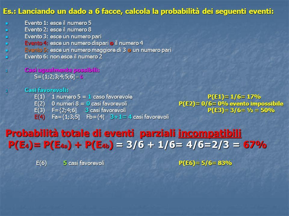 Evento 5: esce un numero maggiore di 3 o un numero pari E(5) Fc ={4;5;6 } Fd={2;4;6 } 6 – 2 = 4 casi favorevoli 2.