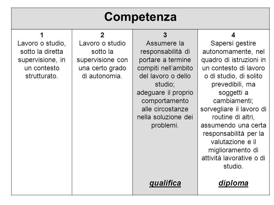 leoni - andis Competenza 1 Lavoro o studio, sotto la diretta supervisione, in un contesto strutturato.