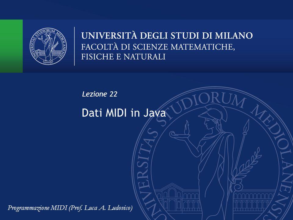 Dati MIDI in Java Lezione 22 Programmazione MIDI (Prof. Luca A. Ludovico)