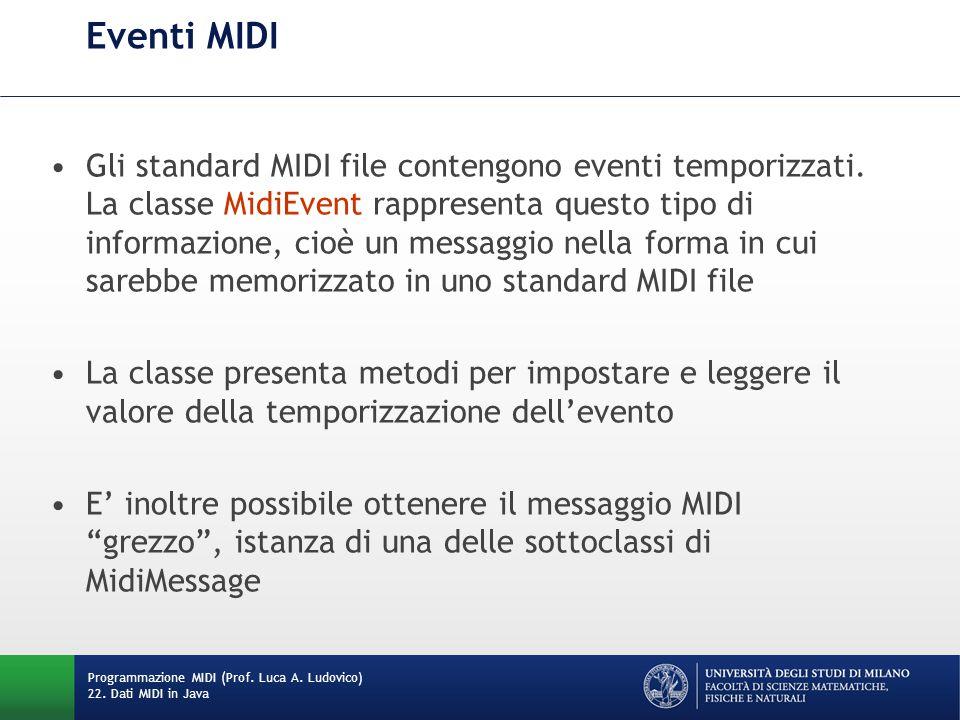 Eventi MIDI Gli standard MIDI file contengono eventi temporizzati. La classe MidiEvent rappresenta questo tipo di informazione, cioè un messaggio nell