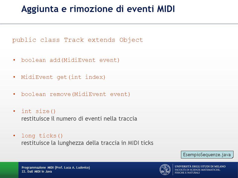 Aggiunta e rimozione di eventi MIDI public class Track extends Object boolean add(MidiEvent event) MidiEvent get(int index) boolean remove(MidiEvent event) int size() restituisce il numero di eventi nella traccia long ticks() restituisce la lunghezza della traccia in MIDI ticks Programmazione MIDI (Prof.