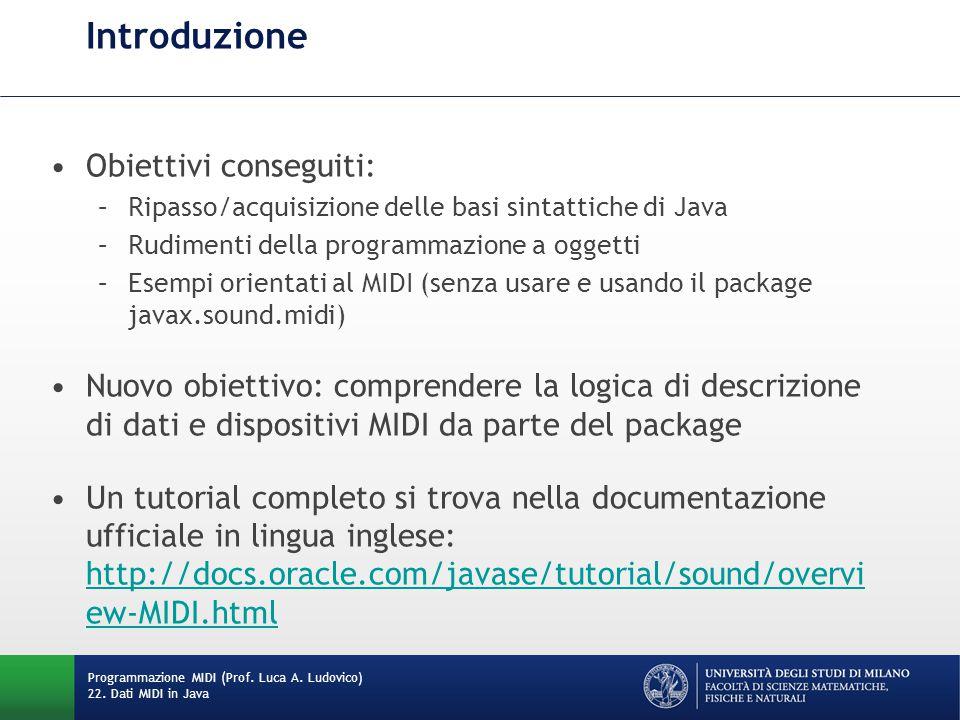 Introduzione Obiettivi conseguiti: –Ripasso/acquisizione delle basi sintattiche di Java –Rudimenti della programmazione a oggetti –Esempi orientati al