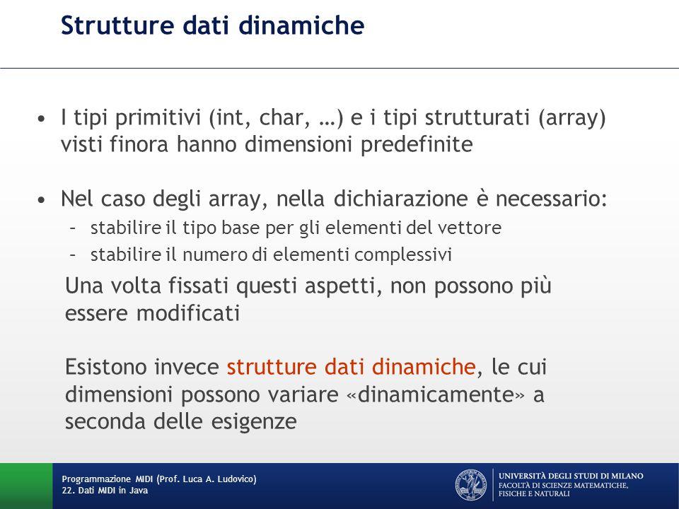 Strutture dati dinamiche I tipi primitivi (int, char, …) e i tipi strutturati (array) visti finora hanno dimensioni predefinite Nel caso degli array, nella dichiarazione è necessario: –stabilire il tipo base per gli elementi del vettore –stabilire il numero di elementi complessivi Una volta fissati questi aspetti, non possono più essere modificati Esistono invece strutture dati dinamiche, le cui dimensioni possono variare «dinamicamente» a seconda delle esigenze Programmazione MIDI (Prof.