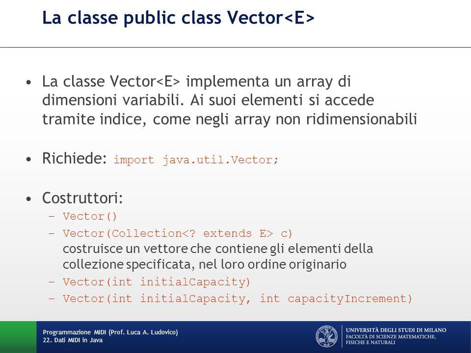 La classe public class Vector La classe Vector implementa un array di dimensioni variabili. Ai suoi elementi si accede tramite indice, come negli arra
