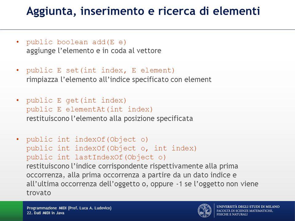 Aggiunta, inserimento e ricerca di elementi public boolean add(E e) aggiunge l'elemento e in coda al vettore public E set(int index, E element) rimpiazza l'elemento all'indice specificato con element public E get(int index) public E elementAt(int index) restituiscono l'elemento alla posizione specificata public int indexOf(Object o) public int indexOf(Object o, int index) public int lastIndexOf(Object o) restituiscono l'indice corrispondente rispettivamente alla prima occorrenza, alla prima occorrenza a partire da un dato indice e all'ultima occorrenza dell'oggetto o, oppure -1 se l'oggetto non viene trovato Programmazione MIDI (Prof.