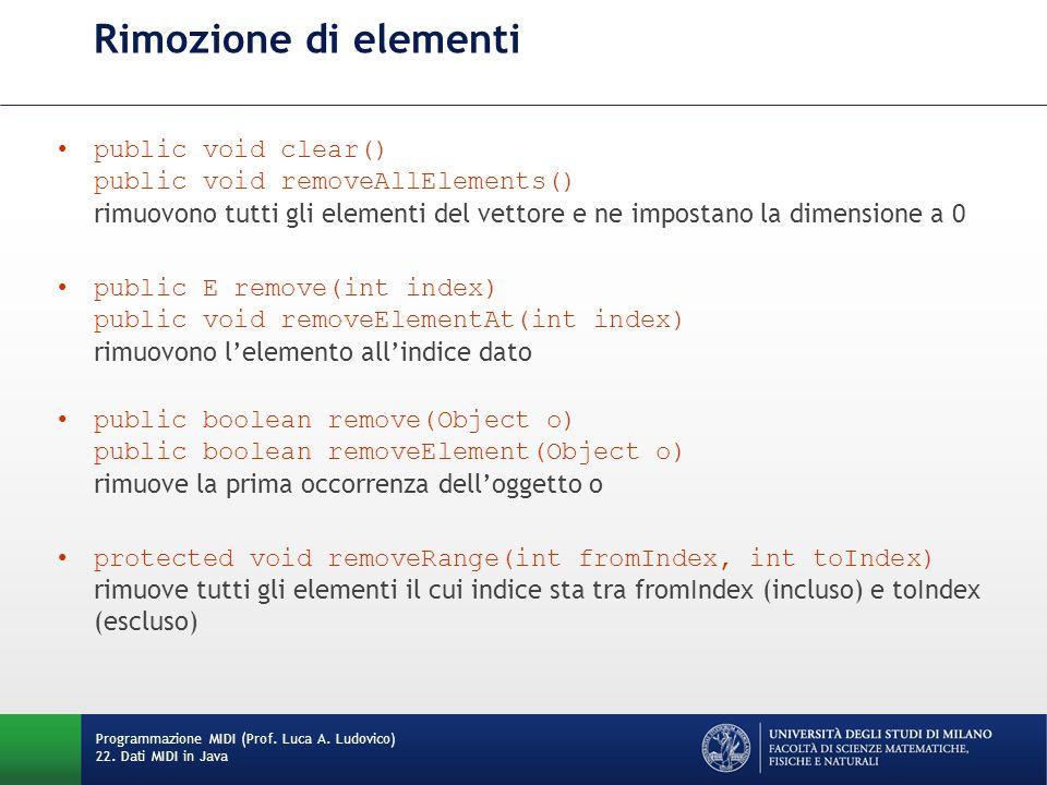 Rimozione di elementi public void clear() public void removeAllElements() rimuovono tutti gli elementi del vettore e ne impostano la dimensione a 0 pu