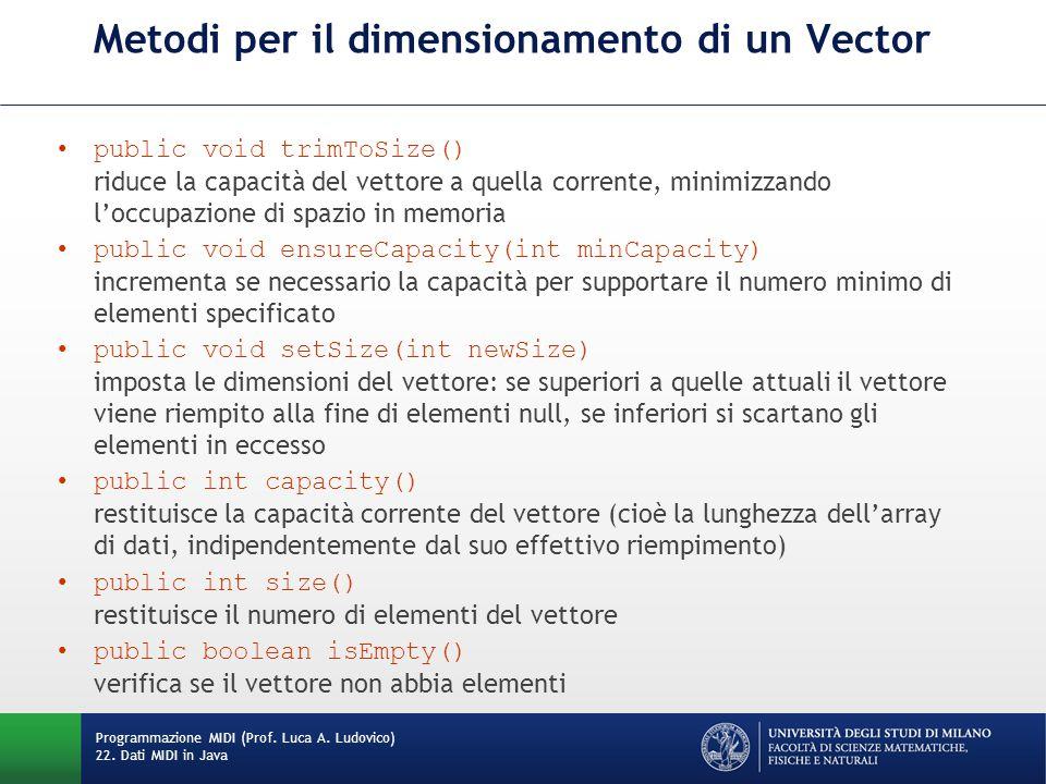 Metodi per il dimensionamento di un Vector public void trimToSize() riduce la capacità del vettore a quella corrente, minimizzando l'occupazione di sp