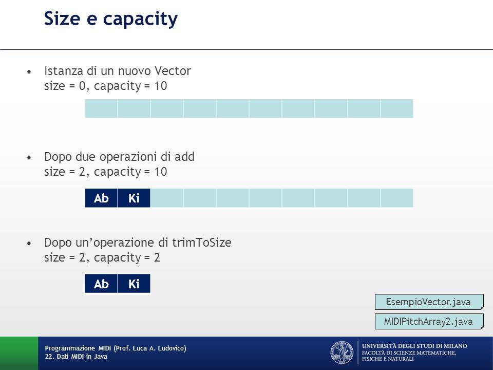 Istanza di un nuovo Vector size = 0, capacity = 10 Dopo due operazioni di add size = 2, capacity = 10 Dopo un'operazione di trimToSize size = 2, capacity = 2 Size e capacity Programmazione MIDI (Prof.