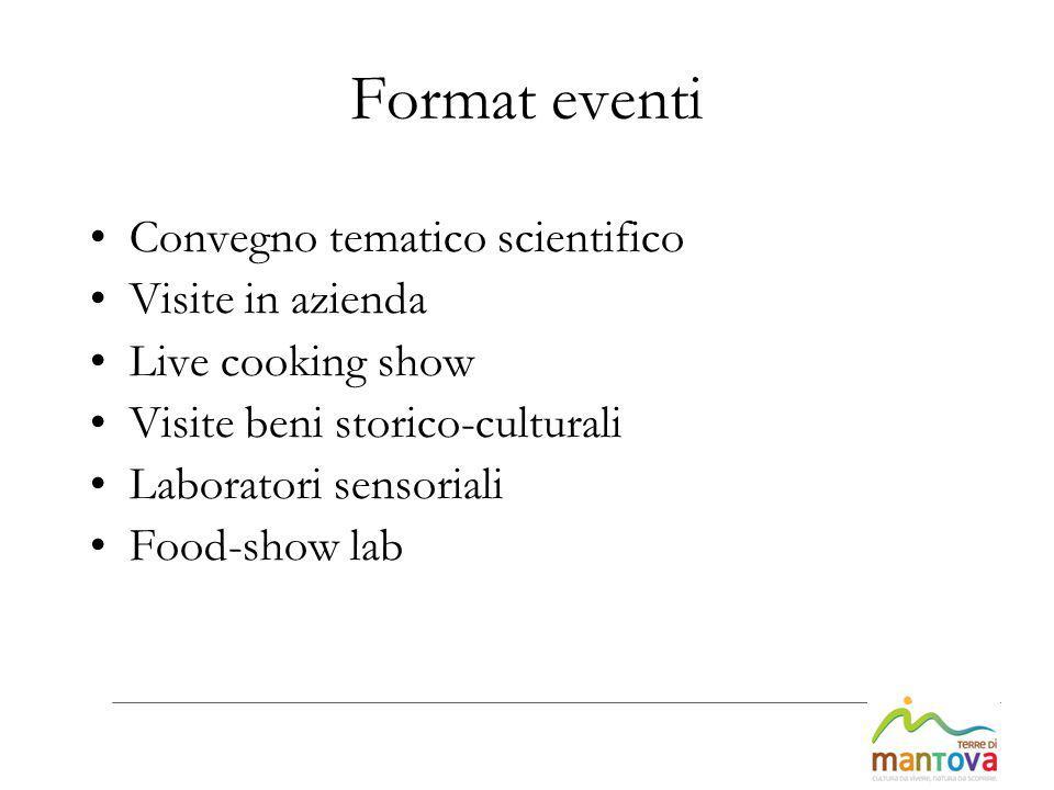 Format eventi Convegno tematico scientifico Visite in azienda Live cooking show Visite beni storico-culturali Laboratori sensoriali Food-show lab