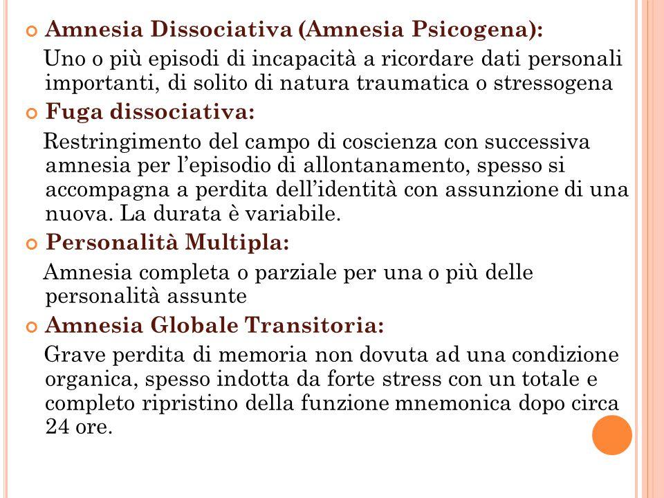 Amnesia Dissociativa (Amnesia Psicogena): Uno o più episodi di incapacità a ricordare dati personali importanti, di solito di natura traumatica o stre