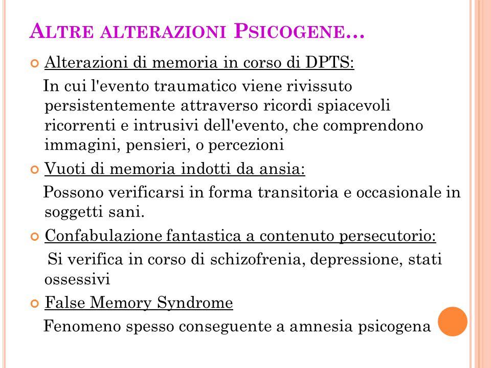A LTRE ALTERAZIONI P SICOGENE … Alterazioni di memoria in corso di DPTS: In cui l'evento traumatico viene rivissuto persistentemente attraverso ricord