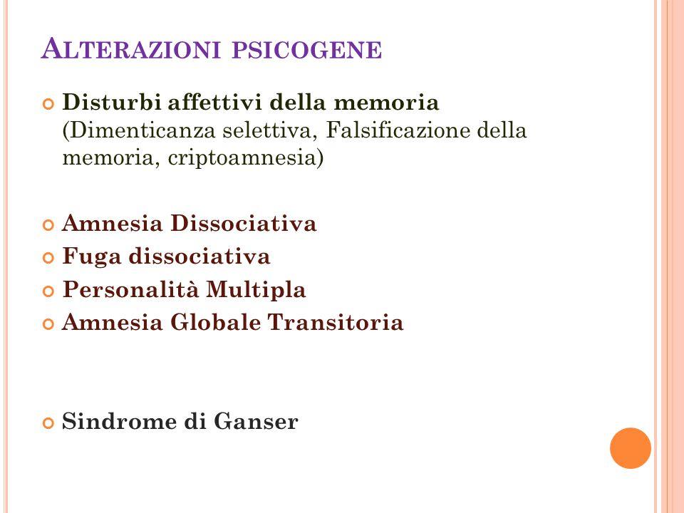 A LTERAZIONI PSICOGENE Disturbi affettivi della memoria (Dimenticanza selettiva, Falsificazione della memoria, criptoamnesia) Amnesia Dissociativa Fug