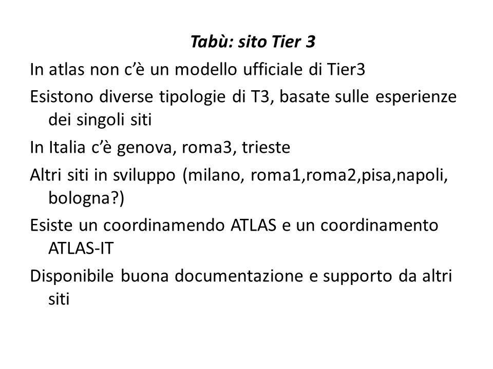 Tabù: sito Tier 3 In atlas non c'è un modello ufficiale di Tier3 Esistono diverse tipologie di T3, basate sulle esperienze dei singoli siti In Italia