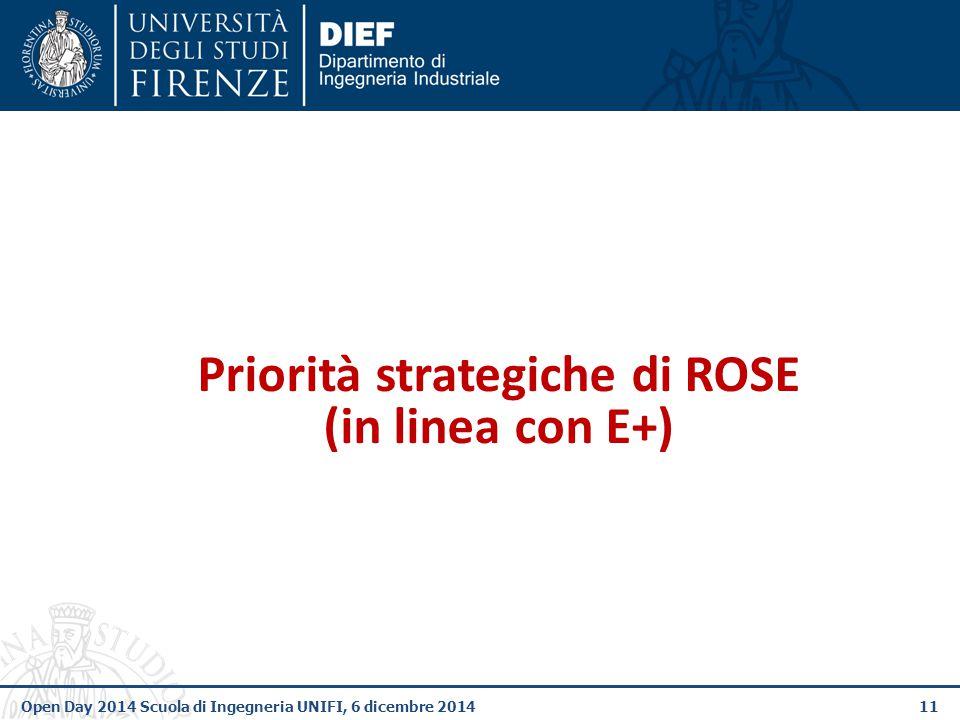 11Open Day 2014 Scuola di Ingegneria UNIFI, 6 dicembre 2014 Priorità strategiche di ROSE (in linea con E+)
