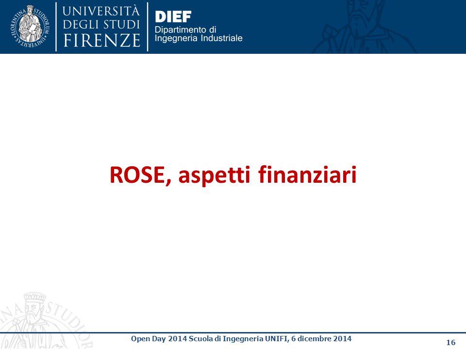 16 Open Day 2014 Scuola di Ingegneria UNIFI, 6 dicembre 2014 ROSE, aspetti finanziari