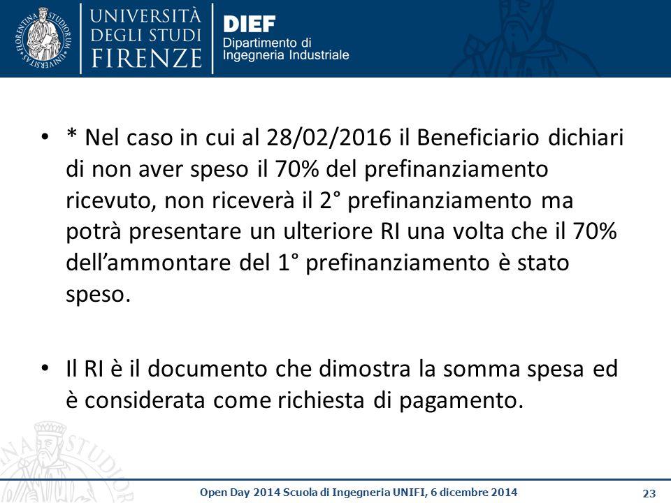 23 Open Day 2014 Scuola di Ingegneria UNIFI, 6 dicembre 2014 * Nel caso in cui al 28/02/2016 il Beneficiario dichiari di non aver speso il 70% del prefinanziamento ricevuto, non riceverà il 2° prefinanziamento ma potrà presentare un ulteriore RI una volta che il 70% dell'ammontare del 1° prefinanziamento è stato speso.