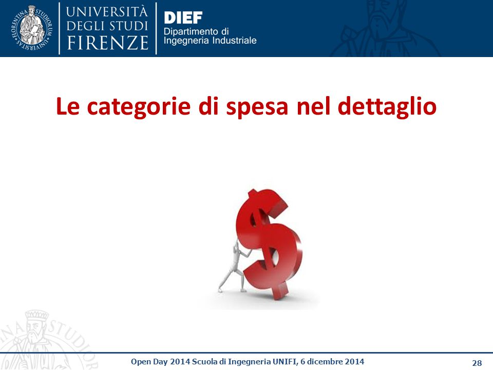 28 Open Day 2014 Scuola di Ingegneria UNIFI, 6 dicembre 2014 Le categorie di spesa nel dettaglio