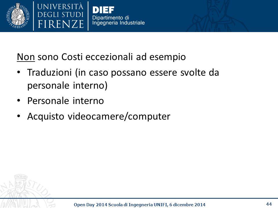 44 Open Day 2014 Scuola di Ingegneria UNIFI, 6 dicembre 2014 Non sono Costi eccezionali ad esempio Traduzioni (in caso possano essere svolte da personale interno) Personale interno Acquisto videocamere/computer