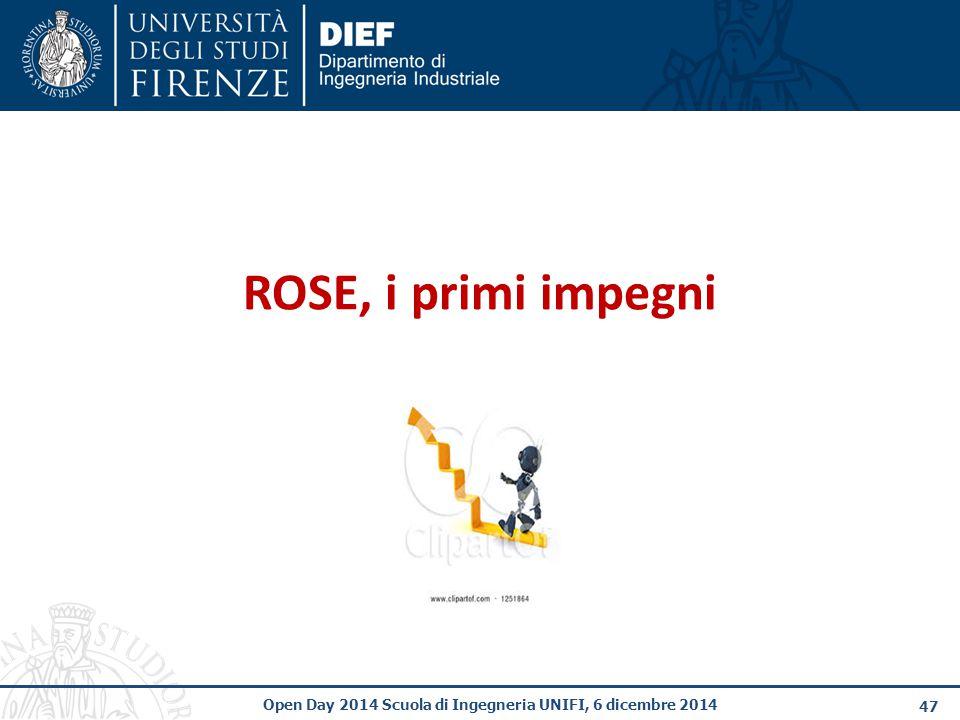 47 Open Day 2014 Scuola di Ingegneria UNIFI, 6 dicembre 2014 ROSE, i primi impegni