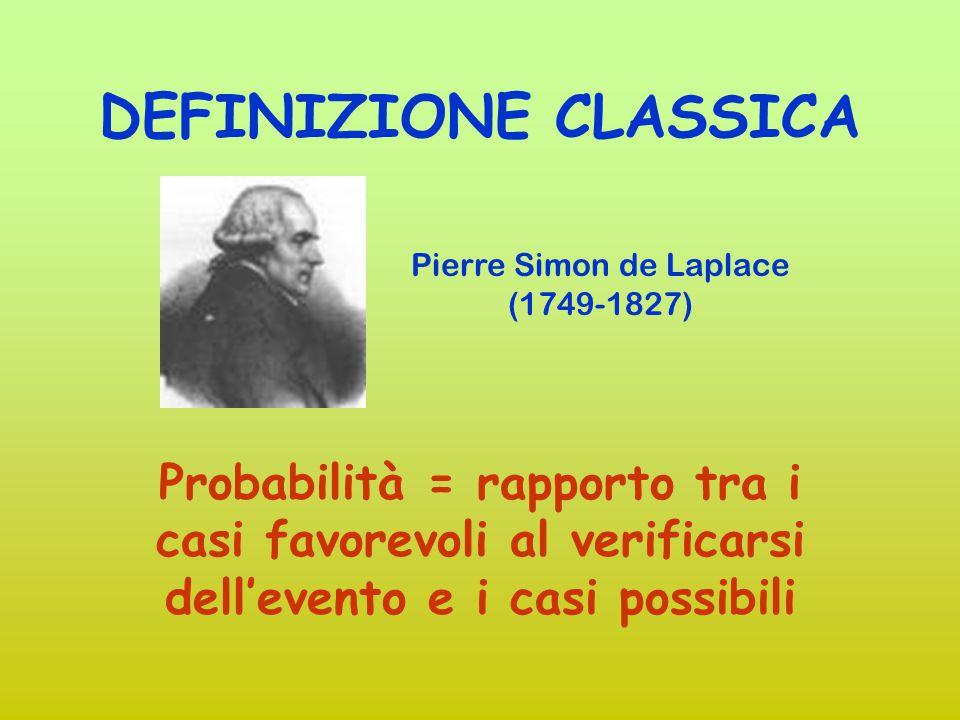 DEFINIZIONI DI PROBABILITA' CLASSICA (Laplace) SOGGETTIVA (De Finetti) FREQUENTISTA (Von Mises) ASSIOMATICA (Kolmogorov)