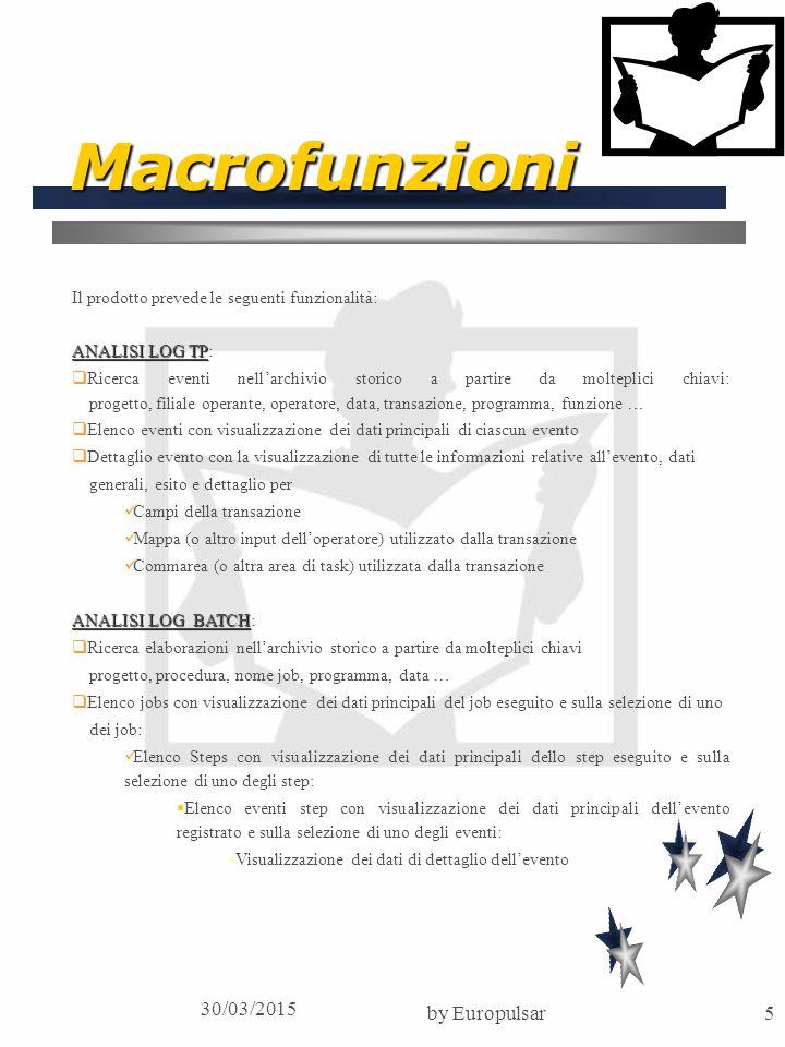 30/03/2015 by Europulsar6 Macrofunzioni REPORTS  Stampe parametriche degli eventi con vari livelli di dettaglio TABELLE TABELLE:  Parametri di Istituto  Jobs  Programmi  Funzioni FUNZIONI DI SERVIZIO FUNZIONI DI SERVIZIO: La procedura mette a disposizione del sistema informativo dell'istituto funzionalità TP e batch per la scrittura sui journal degli eventi ed in particolare  Routine TP di inserimento su log TP dei servizi dei dati ricevuti in area di interfaccia  Routine batch di inserimento sul log Batch dei dati ricevuti in interfaccia  Programma batch di inserimento sul log di singoli eventi passati tramite parm (per effettuare il log delle procedure batch senza modificare i programmi applicativi ma inserendo nuovi steps nei job)