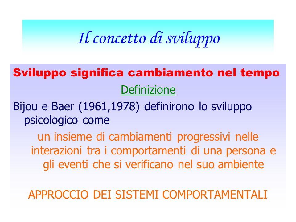 Il concetto di sviluppo Sviluppo significa cambiamento nel tempo Definizione Bijou e Baer (1961,1978) definirono lo sviluppo psicologico come un insieme di cambiamenti progressivi nelle interazioni tra i comportamenti di una persona e gli eventi che si verificano nel suo ambiente APPROCCIO DEI SISTEMI COMPORTAMENTALI