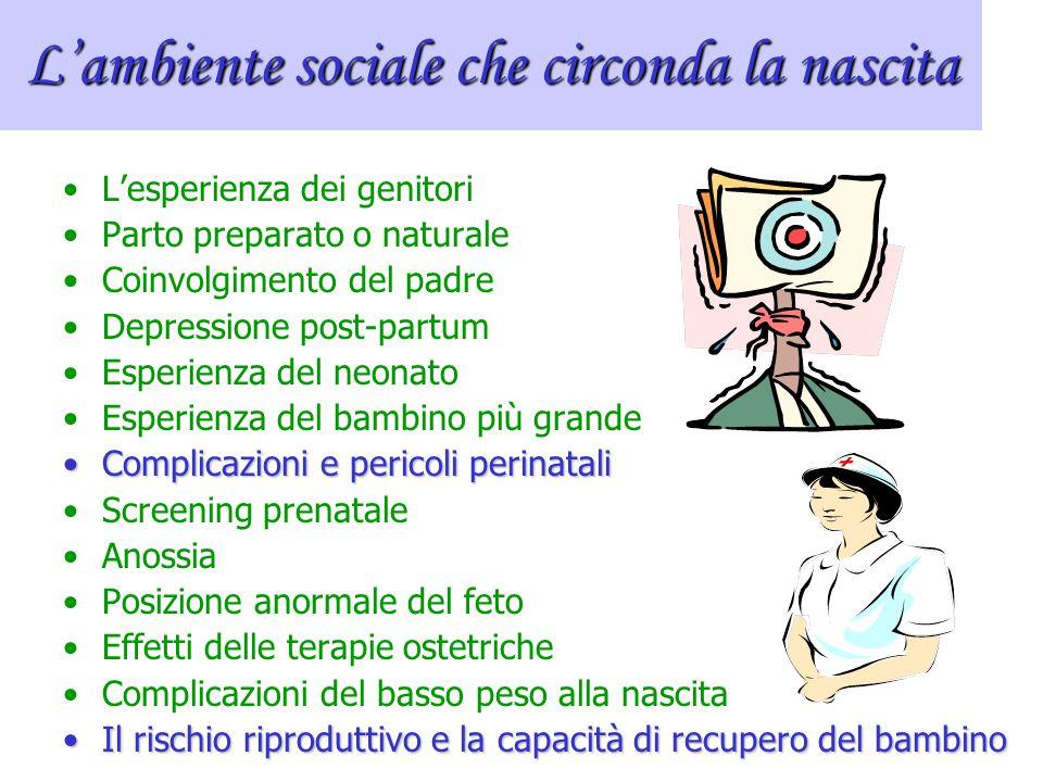 Nascita e ambiente perinatale L'ambiente perinatale è l'ambiente che circonda il momento della nascita. Comprende diversi fattori: 1.Medicine date all